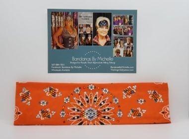 LeeAnnette Orange Paisley with Black, Orange and Diamond Clear Swarovski Crystals (Sku4258)