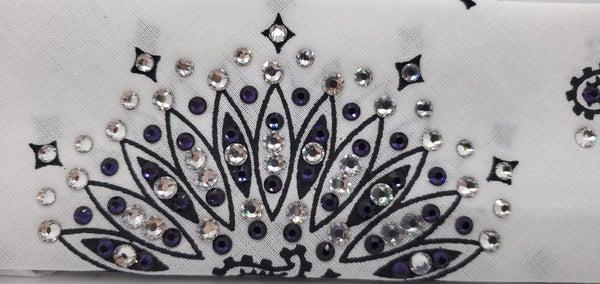 Narrow White Paisley with Dark Purple and Diamond Clear Swarovski Crystals (Sku2039)