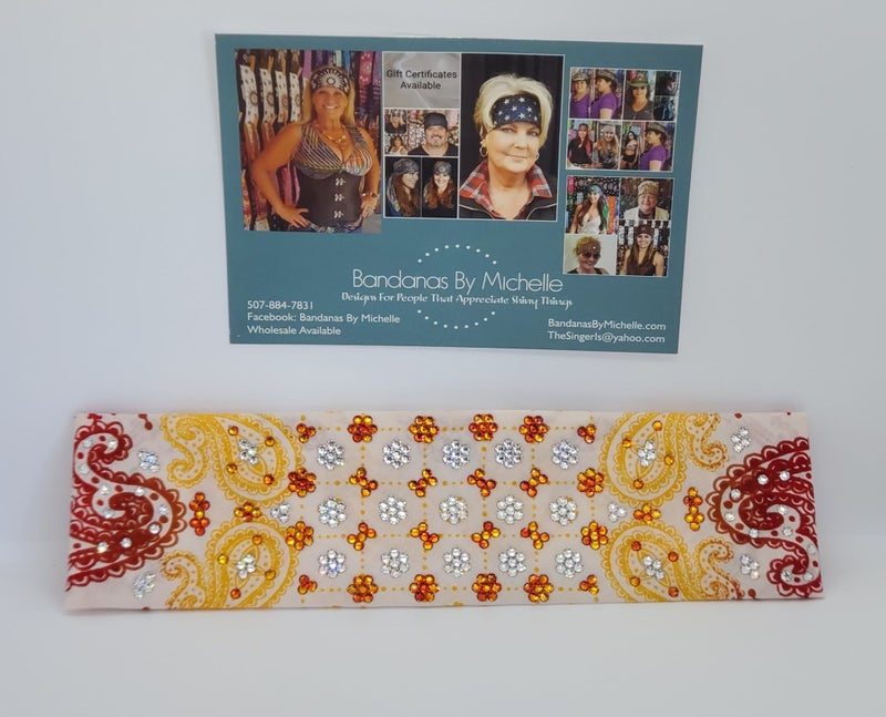 LeeAnnette Gold and Red on Cream with Orange and Diamond Clear Swarovksi Crystals (Sku4552)