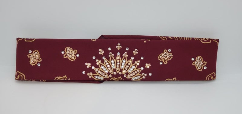 Narrow Gold Paisley on Maroon with Rose Gold and Diamond Clear Swarovski Crystals (Sku2491)