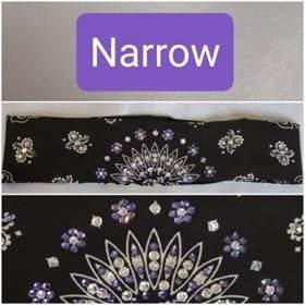 Narrow Black Paisley with Light Purple and Diamond Clear Swarovski Crystals (Sku2075)