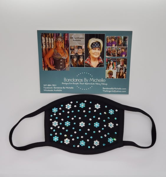 Face Mask with Turquoise and Diamond Clear Swarovski Crystals.Flowers and extra bling *Final Sale* (Sku5905)