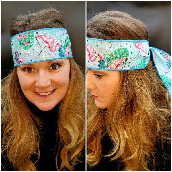 Flamingo Headband Strip with Turquoise, Pink, Light Green and Diamond Clear Swarovski Crystals (Sku5513)