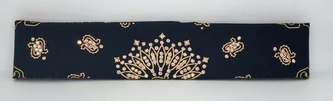 Narrow Gold Paisley on Black with Rose Gold Swarovski Crystals (Sku2044)