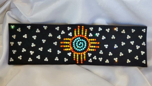 LeeAnnette Black Zia with Yellow, Fire Opal, Turquoise and Diamond Clear Swarovski Crystals (Sku4805)