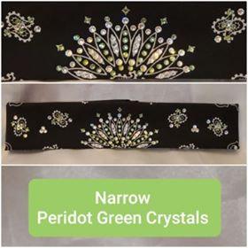 Narrow Black Paisley with Peridot Green and Diamond Clear Swarovski Crystals (Sku2079)