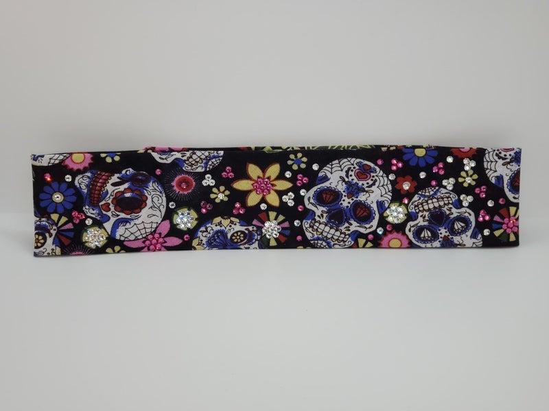 Narrow Sugar Skulls and Flowers with Bright Pink and Diamond Clear Swarovski Crystals (Sku9051)