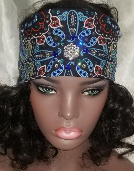 LeeAnnette Blue Indian with Dark Blue, Turquoise and Diamond Clear Swarovski Crystals