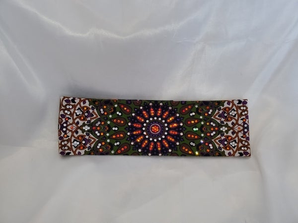 LeeAnnette Green and Purple Bandana with orange, purple and clear Swarovski crystals