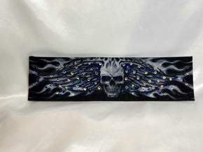 Wing Skull with Blue and Diamond Clear Swarovski Crystals (Sku1578)