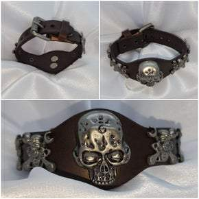 Brown Adjustable Leather Skull Motor Wrench UNISEX Bracelet (sku8326)