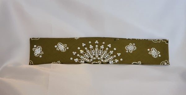 Narrow Olive Green Paisley With Diamond Clear Swarovski Crystals (Sku2177)