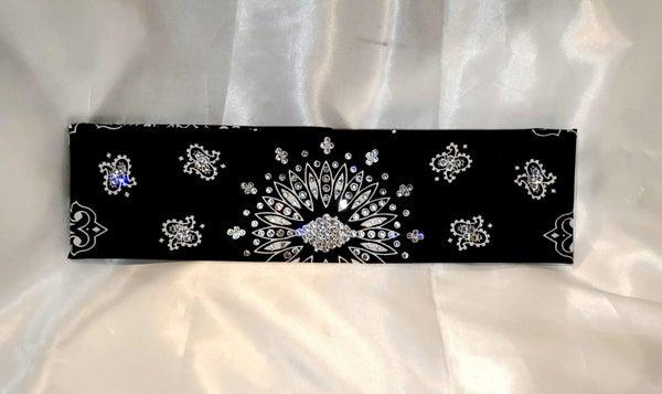 Black Paisley With Diamond Clear Swarovski Crystals (Sku1919)