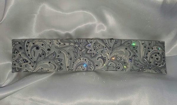 Narrow Silver Paisley with Clear Crystals (Sku1871)