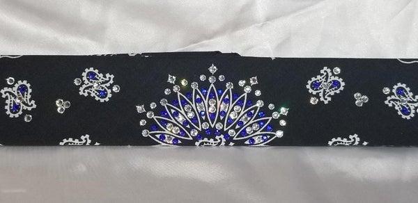 Narrow Black Paisley Bandana With Bright Blue and Clear Swarovski Crystals (Sku2060)
