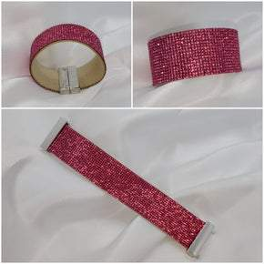 Elegant Leather Austrian Pink Crystal Wrap Bracelet (Sku8309)