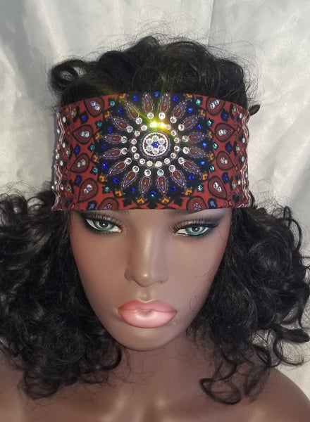 Narrow Rust Indian with Turquoise Blue and Clear Crystals (Sku1296)