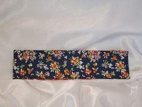 Autumn Flowers on Blue with Light Green, Fire Opal and Diamond Clear Swarovski Crystals (sku9876)