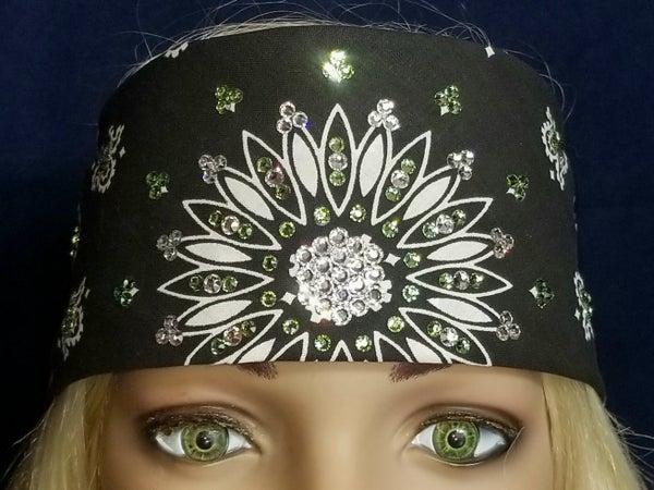 Black Paisley With Diamond Clear and Light Green Swarovski Crystals (Sku1904)