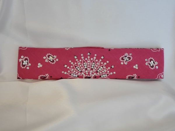 Narrow Magenta Paisley With Diamond Clear Swarovski Crystals (Sku2160)