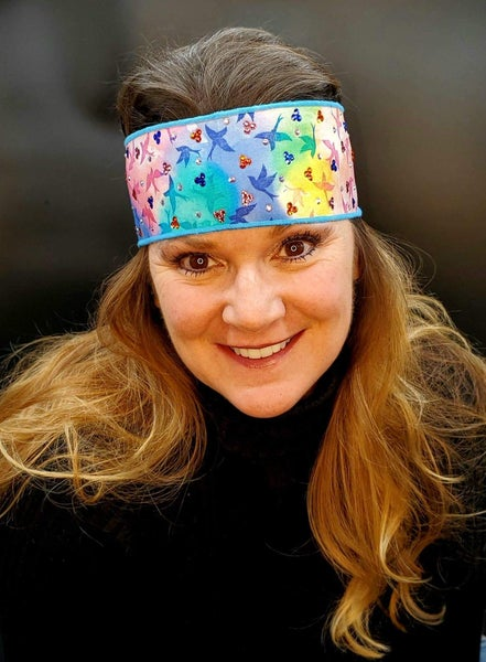 Tie Dyed Doves Headband Strip with Multi-Colors of Swarovski Crystals  (Sku5526)