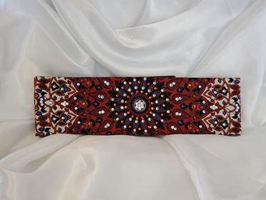 Rust Indian with Orange and Diamond Clear Swarovski Crystals (Sku1289)