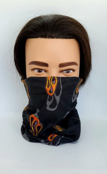 Tube Scarf Black with Flame