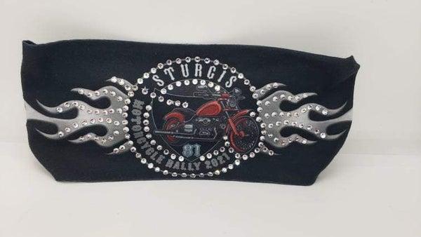 Stretchy Headband Black Sturgis with Clear Crystals (Sku5133)