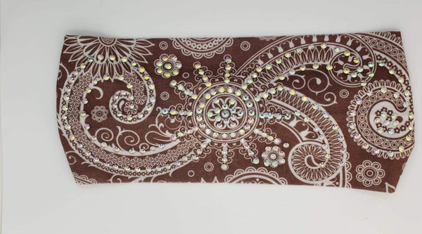 Stretchy Chocolate Brown Headband with Aurora Borealis Crystals (Sku5112)