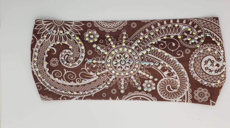 Stretchy Chocolate Brown Headband with Aurora Borealis Crystals (Sku5112)