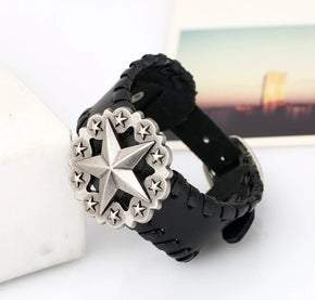 UNISEX Black leather Star Concho adjustable bracelet (sku8321)