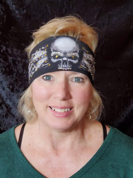 Flame Skull Bandana with Yellow and Diamond Clear Swavorski Crystals (Sku1525)