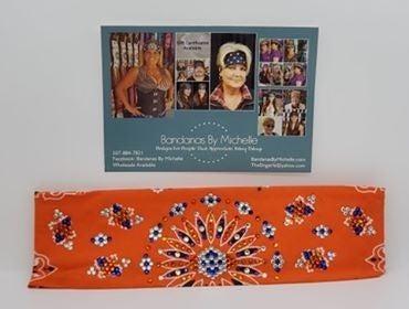 LeeAnnette Orange Paisley with Blue, Orange and Diamond Clear Swarovski Crystals (Sku4254)