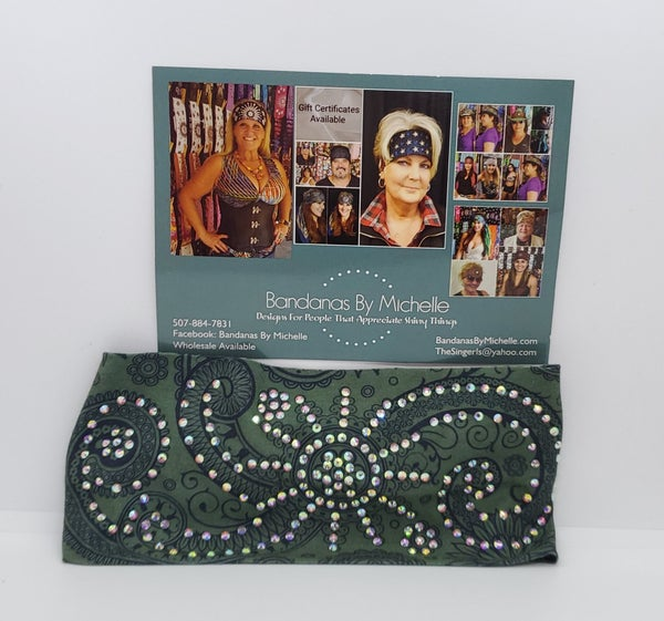 Stretchy Hunter Green Headband with Aurora Borealis Crystal Rhinestones (Sku5014)