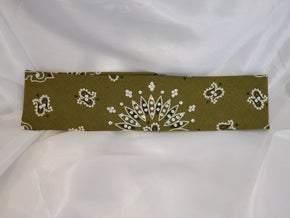 Bargain Bandana Narrow Olive Green with Diamond Clear Crystals (Sku8033)