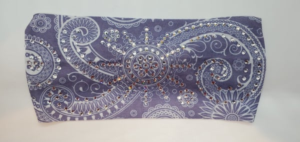 Stretchy Headband Grey/Light Lavender with Clear Crystals (sku5087)