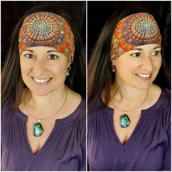 Stretchy Grateful Dead Headband with Aurora Borealis Crystals