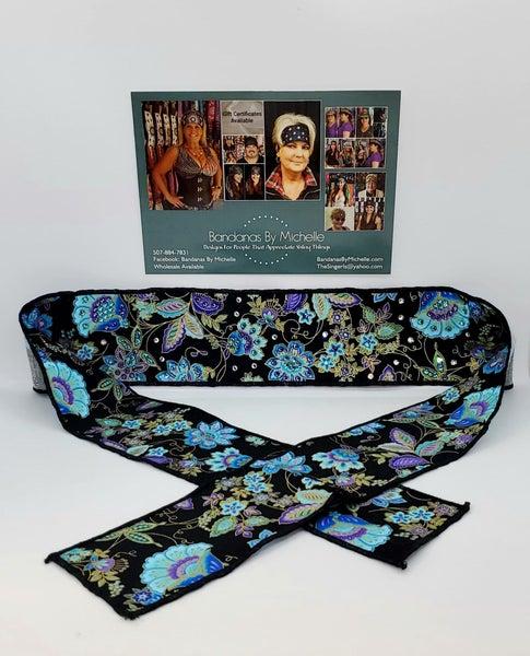 Purple and Blue Flowers on Black Headband Strip with Purple, Turquoise and Diamond Clear Swarovski Crystals (Sku5534)
