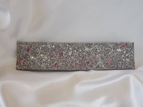 Narrow Gray Scroll with Pink Rose and Diamond Clear Swarovski Crystals (Sku1832)