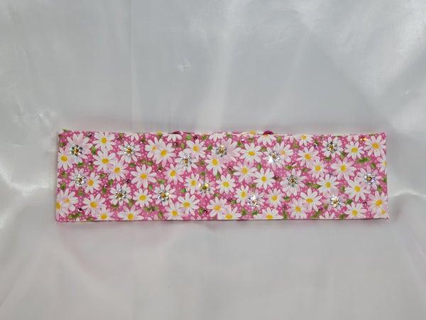 Pink and yellow daisy bandana with pink and clear Swarovski crystals (Sku1105)