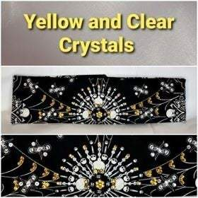 Spider Web Skull with Yellow and Diamond Clear Swarovski Crystals (Sku1659)