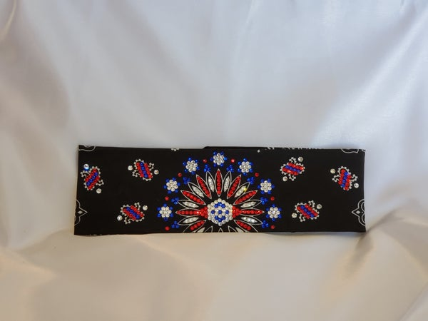 LeeAnnette black bandana with red clear and blue Swarovski crystals (Sku4096)