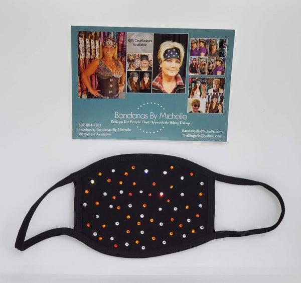 Black Face Mask with Orange and Diamond Clear Swarovski Crystals (Sku5923)