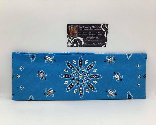 Bright Turquoise Blue Large Flower Paisley with Aurora Borealis and Diamond Clear Swarovski Crystals (Sku2498)