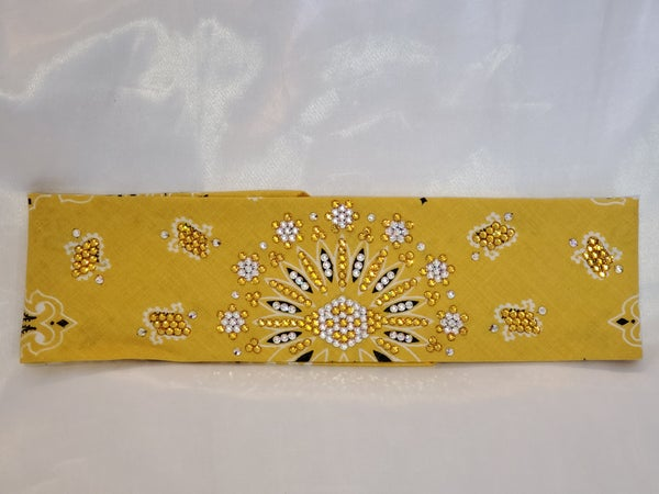 LeeAnnette Golden Colored Bandana With Sunflower and Aurora Borealis Crystals (Sku4033)
