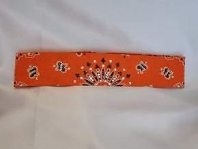 Narrow Orange Paisley With Jet Hematite and Diamond Clear Swarovski Crystals (Sku2193)