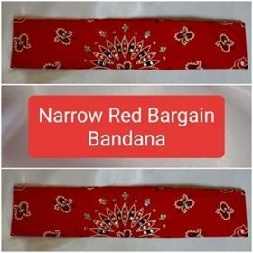 Bargain Bandana Narrow Red with Diamond Clear Crystals (Sku8040)