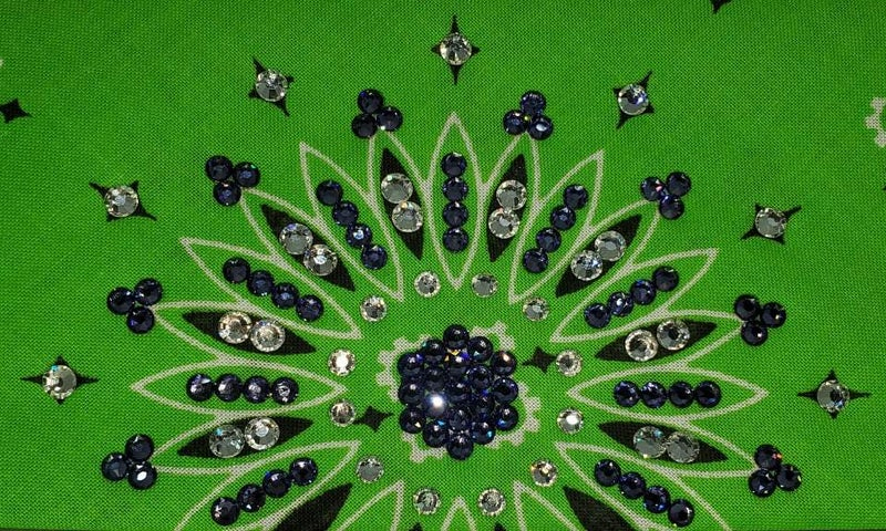 Lime Green Paisley with Diamond Clear & Light Purple Austrian Crystals (Sku2509)