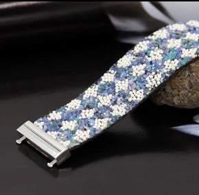 Elegant Synthetic Leather Blue and White Stone Wrap Bracelet (Sku8310)