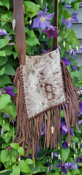 Genuine Leather Raviani Purse With Speckled Brown Brindle design